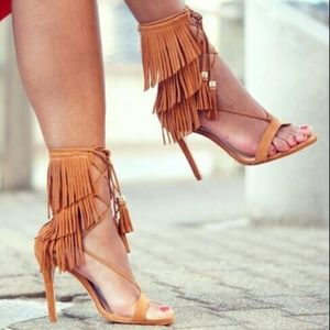 Shoes - Gladiator Rome Fringed Tassel Lace Up Stiletto